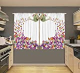 Country Floral Watering Can Digital Graphic Printed Kitchen Curtain Panel Set or Dining Room Drapes European Colonial Spring Flowers Design Window Covering Treatment For Sale