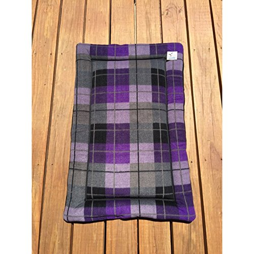 Plaid Dog Crate Pad Purple Cat Mat Puppy Bedding Kennel Medium Pet Bed Fits 24x36 Crate Washable by Comfy Pet Pads