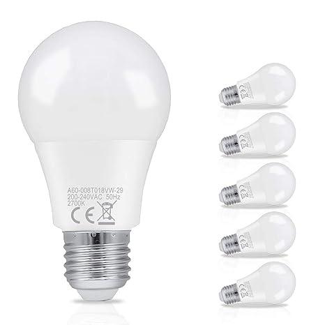 Hengda 8W A60 Bombilla LED esférica E27 ,equivalente a 60W, Blanco cálido 2700K,