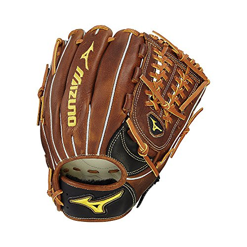 Mizuno Classic Fast Pitch Series GCF1201F2 Infield/Pitcher Model Gloves, Black/Brown