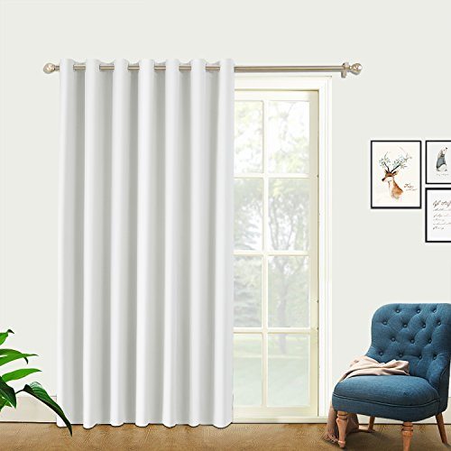 PRAVIVE Office Room Divider Curtains - Thermal Insulated & Privacy Patio Door Window Curtains, Sliding Glass Door/loft/Storage Drape/Blinds with Ring Top, 8.5ft Wide x 8ft Tall, Greyish White