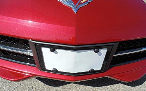 C7 Corvette 2014+ Aluminum Angled Front License Plate Frame - Carbon Flash Metallic Powder Coat