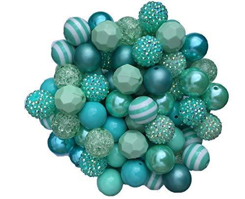 20mm Aqua Mix 30 Count Chunky Bubble Gum Acrylic Beads Bulk Wholesale Pack Necklace Kit ()