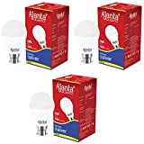 Ajanta Quartz3 Base B22 3-Watt LED Bulb (Pack of 3, White)