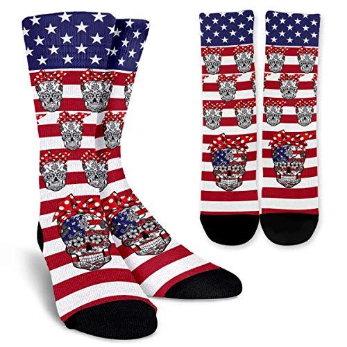 Funny Sugar Skull Arts Tattoo American Flag Unisex Colorful Designs Trouser Socks Patriotic Gifts for Men Women Girls Boys Patriot Veteran Army USA Military (Coast Trousers)