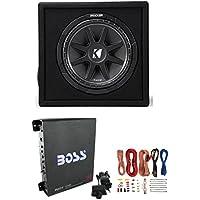 New KICKER 43VC124 12 300W Car Audio Subwoofer +Sub Box +Boss Mono Amp +Amp Kit