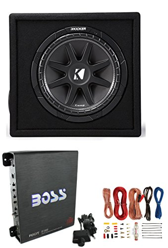 KICKER New 43VC124 12″ 300W Car Audio Subwoofer +Sub Box +Boss Mono Amp +Amp Kit