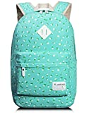 School Bookbags for Girls, Floral Backpack College Bags Light Daypack Haversack Bag by Leaper (Water Blue)