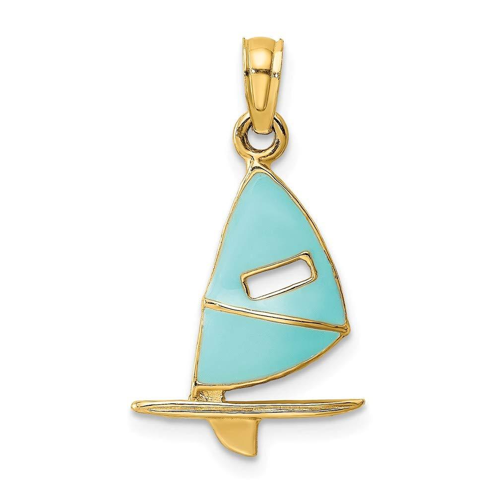 Jewels By Lux 14K Yellow Gold Aqua Windsail Surfing Board