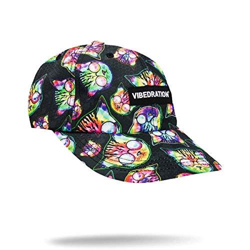 Vibedration Unisex Adjustable Baseball Cap | Festival Gear, Rave Clothing & Outfit Accessory (Kosmic Kitties)