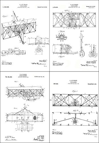 nt Prints - Airplane Patent Posters - Flying Machine Invention - Aviation Artwork – Set of 4 (8x10) Pictures – Vintage Wall Art Décor ()
