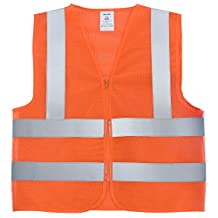 Neiko 53945A Neon Orange Safety Vest with Reflective Strips and Zipper ANSI/ISEA, Standard Size Large