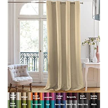 FlamingoP 97% Blackout Ultimate Performance Solid Pattern Drape, Thermal Insulated, Grommet Top, One Panel 84 by 52 inch -Wheat