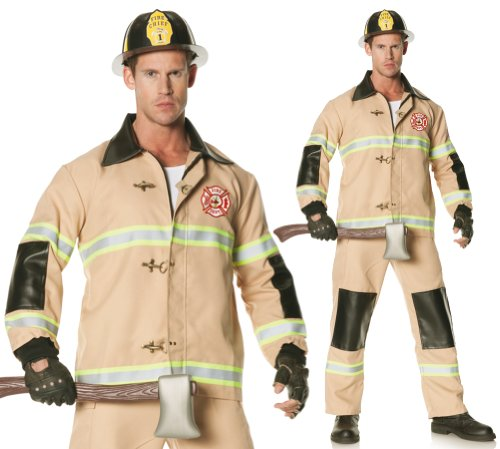 Underwraps Men's Plus-Size Firefighter, Tan, XX-Large (Mens Sexy Firefighter Costume)