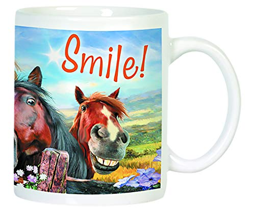 - Smile Horses 12 Ounce Humorous Ceramic Coffee Mug
