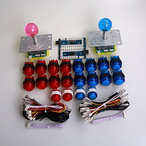 Dashtop LED Arcade DIY Parts 2x Zero Delay USB Encoder + 2x 2/4/8 Way LED Joystick + 20x LED Illuminated Push Buttons for Mame Windows System & Raspberry Pi Projece Arcade Project Red + Blue Kits
