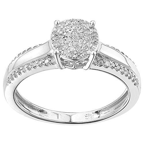 TGDJ Elegant 925 Sterling Silver Wedding/Engagement Ring - Paved with Dazzling 0.25 Carat Round Cut Natural Diamonds - High Polish Finish Exquisite Promise Style Fashion Jewelry (9) ()