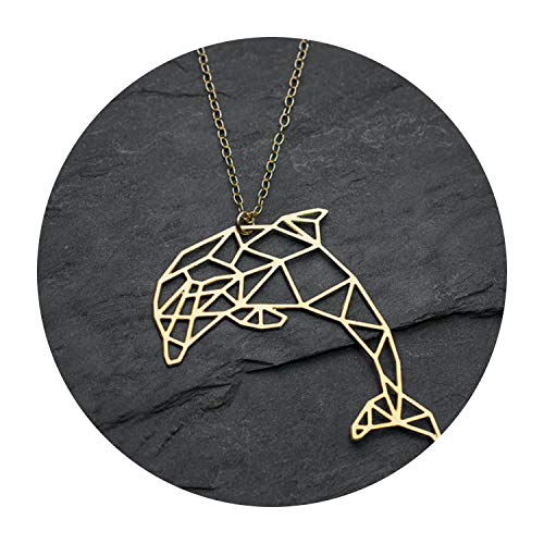 - Fashion Dolphin Necklace Unique Origami Fish Necklace Geometric Dolphin Pendant Jewelry Party Accessories,Gold Color
