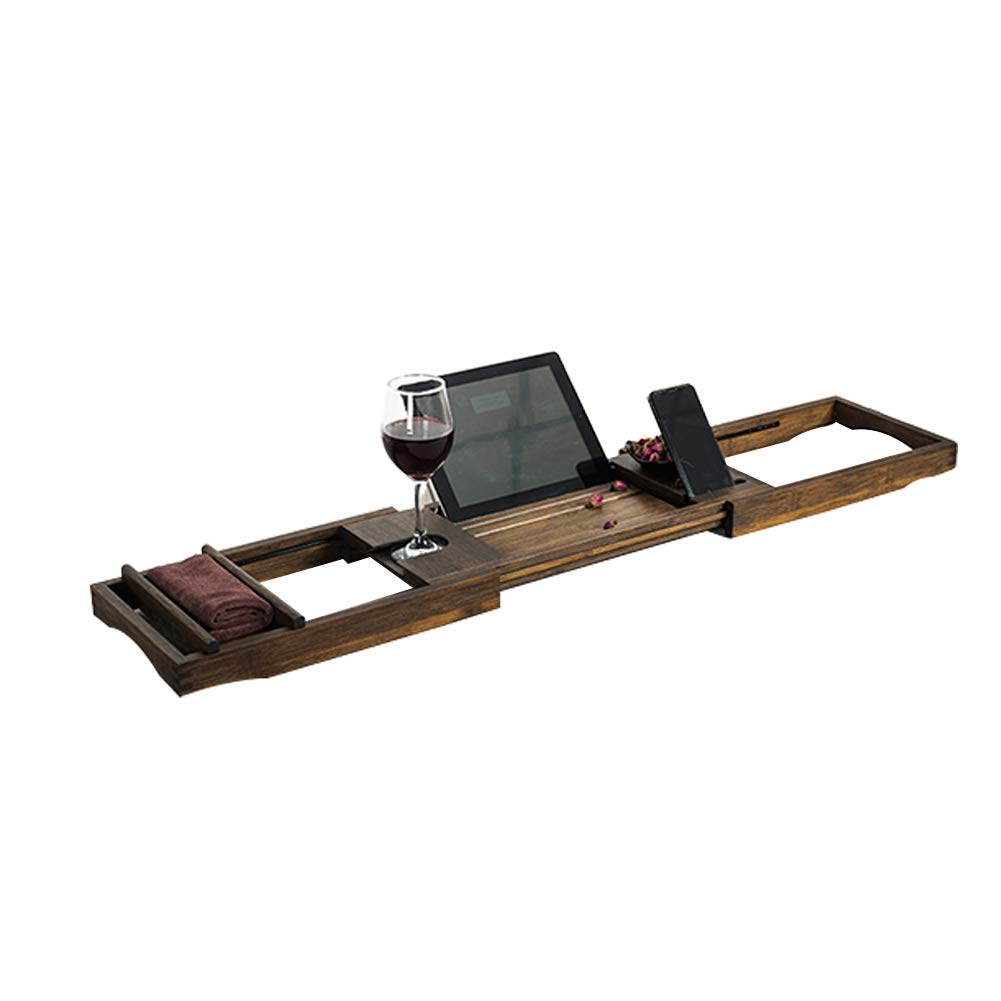 Bamboo Bathtub Caddy Tray,Natural,ecofriendly Wood Integrated Tablet Phone Wine Book Holders(Adjustable)-a 75x109cm(30x43inch)