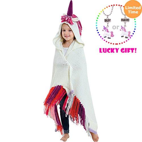- Brandream Crochet Unicorn Blanket for Kids/Toddler Blanket Girls Boys Knitted Blanket and Throws, Wearable Hooded Animal Blankets with Purple Magic Horn Children Blankets