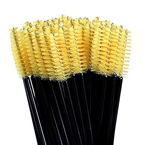 100Pcs Disposable eyelash brushes(Yellow+Black) - 7