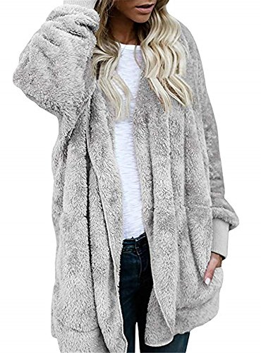 YOMISOY Womens Long Cardigans Open Front Hooded Casual Fleece Sherpa Jacket Coat with (Open Front Hooded Cardigan)