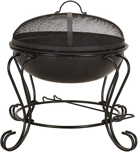NEW Tesco Small Round Wood & Charcoal Burning Fire Pit - Black