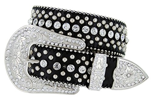 Women's Cowgirl Style Western Belt with Rhinestones and Studs (32 - Belt Black Rhinestone Western