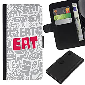 KingStore / Leather Etui en cuir / Sony Xperia Z1 L39 / Comer cotización Wallpaper Cartas Food Slogan