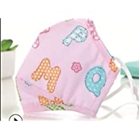 Kids Washable Anti Pollution Cotton Mask with Two Filters… (Alpha Pink)