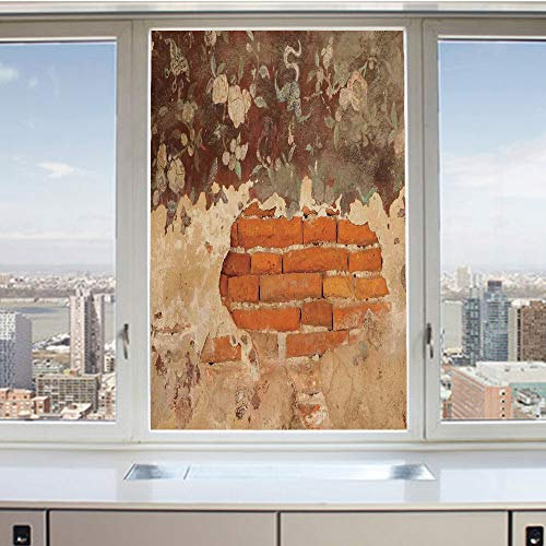 - 3D Decorative Privacy Window Films,Old Historical Floral Mural Painting on A Wall Concrete Bricks Rustic Decoration,No-Glue Self Static Cling Glass Film for Home Bedroom Bathroom Kitchen Office 24x36