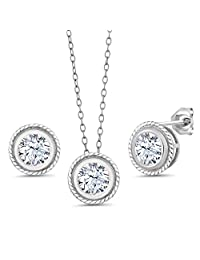 3.60 Ct White Created Sapphire 925 Silver Pendant Earrings Set With Chain