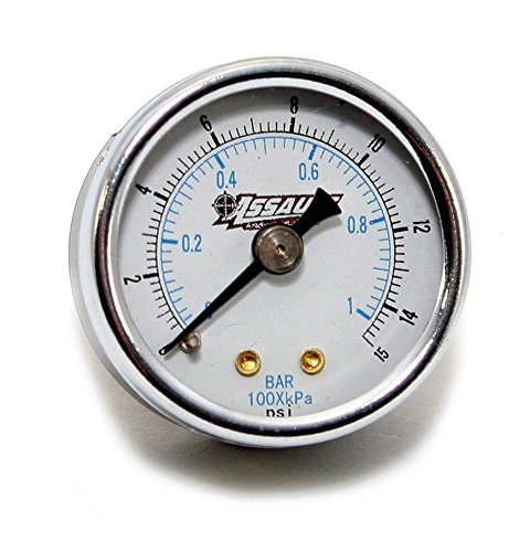 Assault Racing Products 4301500 Dry 1-1 2 Fuel Pressure Gauge 0-15 PSI w 1 8 NPT Rear Fitting Carbureted Apps