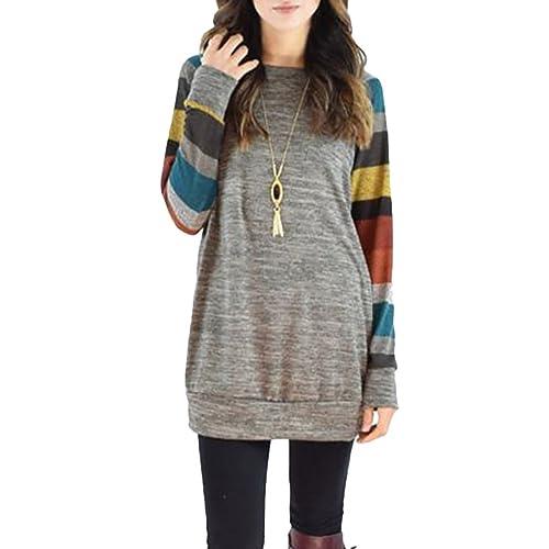 Mujer Suéter Otoño Invierno Primavera Camisas Cuello Redondo Tops Moda Pullover Naranja Gris M