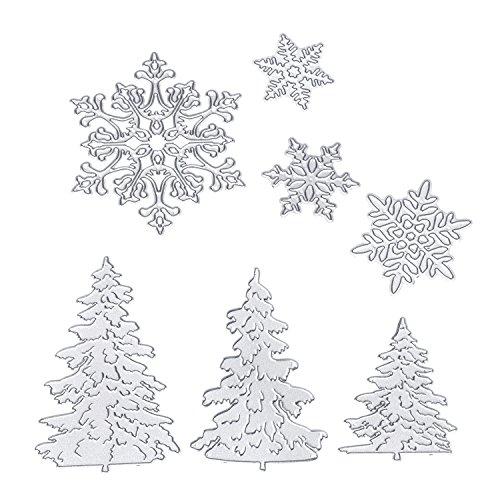 BBTO 7 Pieces Christmas Snowflakes Cutting Dies Metal Christmas Tree Stencil for DIY Scrapbook Album Paper Card