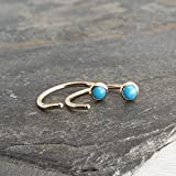 Gold Open Hug Hugging Earrings Sleeping Beauty Turquoise Stone 3mm