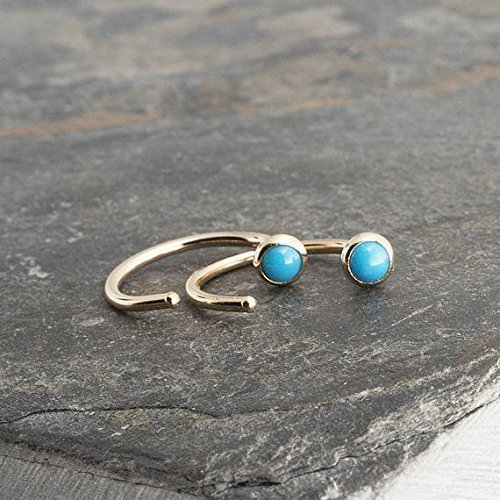Gold Open Hug Hugging Earrings Sleeping Beauty Turquoise Stone 3mm by Fashion Art Jewelry