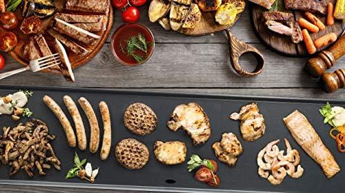 Bestron Plancha/Plaque de cuisson teppanyaki électrique XXL antiadhésive, 1800 W, Noir