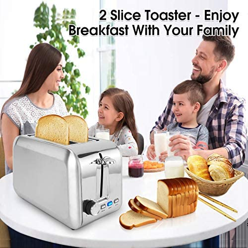 2 Slice Toaster Stainless Steel Toaster Best Rated Prime Toasters with 7 Shade Settings Reheat bagel Cancel Function and Removable Crumb Tray Wide Slots toaster for Bread Waffles