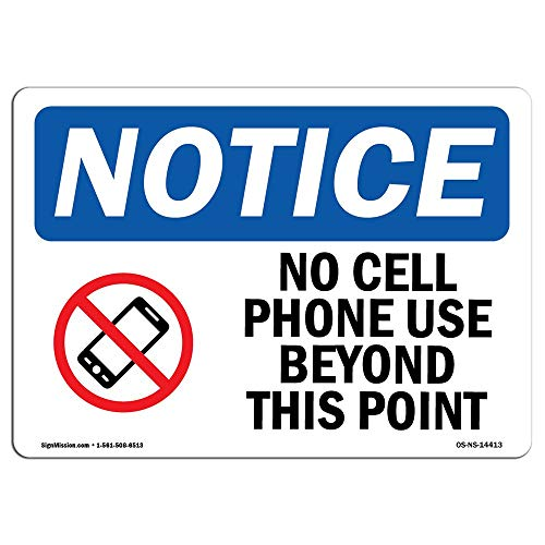 OSHA Notice Signs No Cell Phone Use Beyond This Point Sign with Symbol Protect Your Warehouse Business Metal Tin Sign Aluminum Sign Poster Decor for Home Bar Office Pub (No Cell Phone Use Beyond This Point Sign)