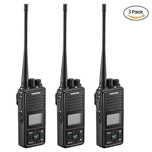 2 Ways Radio Long Range Samcom FPCN10A Walkie Talkie 20 Channel Wireless Intercom with Group Button, 2.5 Miles Range with Earpiece Belt Clip(Pack of 3)