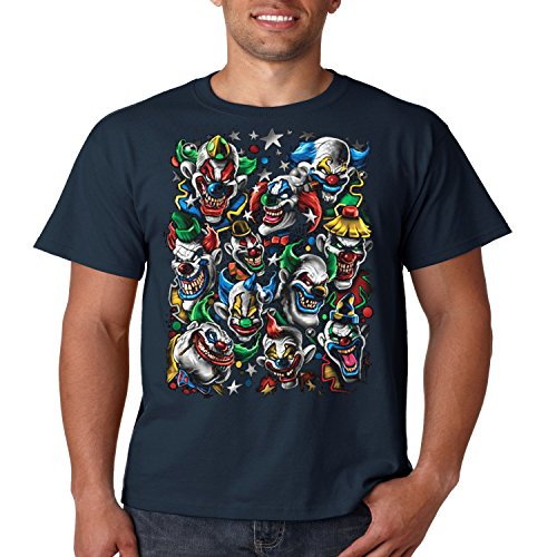 Cool T Shirt Colored Clown Stack Liquid Blue Mens Tee S-5XL (Navy Blue, L) ()