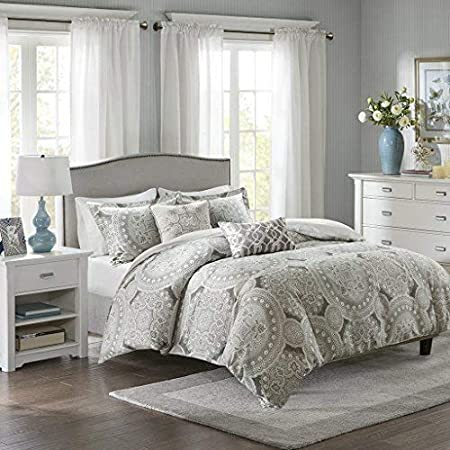 Harbor House Freida Duvet Cover Full/Queen Size - Grey, Taupe , Bohemian Medallion Duvet Cover Set – 6 Piece – 100% Cotton Sateen Light Weight Bed Comforter Covers
