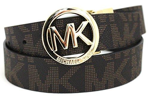 MICHAEL Michael Kors Belt with MK Logo Plaque - Michael Kors Brown Belt