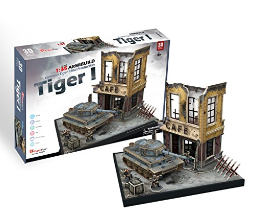 [CubicFun JS4201h ArmiBuild Military Scenic Model Army Tank German Tiger I Mid Production 3D Puzzle, 258 Pieces] (German Army Tank)