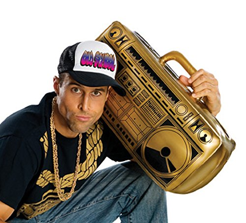 GOLD Old School Inflatable Boom Box Ghetto Blaster Prop