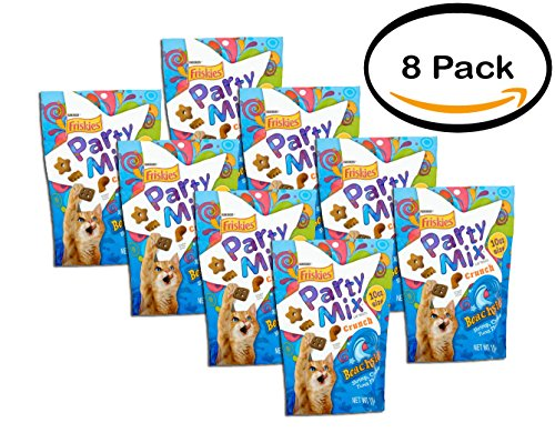 PACK OF 8 - Purina Friskies Party Mix Crunch Beachside Cat Treats 10 oz. Pouch by Friskies