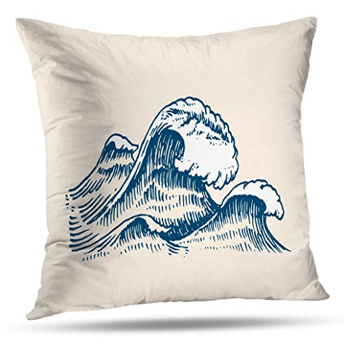 Geericy Antique World Map Decorative Throw Pillow Covers, Waves Vintage Old Drawn Marine and Nautical Sea Ocean Banner Cushion Cover 18X18 Inch for Bedroom Sofa ()