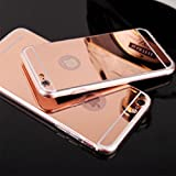 iSAVE 6MIRRORSILICON New Luxury Soft Silicon Electroplated Mirror Finish Back Cover Frame Case for iPhone 6/6s (4.7 inches),(ROSE GOLD)