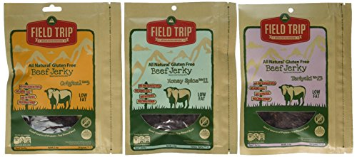 FIELD TRIP Best Sellers Variety Bundle, All Natural Gluten Free Beef Jerky, Teriyaki #23 + Honey Spice #11 + Original #3